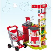 Obchody pre deti - Obchod City Shop Smoby s elektronickou pokladňou a vozíkom so 44 doplnkami_11