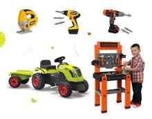 Dětská dílna sety - Set pracovní dílna Black+Decker Smoby šlapací traktor a vrtačka se zvukem_16
