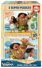 Drevené puzzle pre deti Vaiana Disney Educa 2x25 dielov od 4 rokov