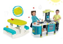 SMOBY 311200-6 tyrkysová kuchynka Tefal French Touch so zvukmi a ľadom+detský stôl s úložným priestorom