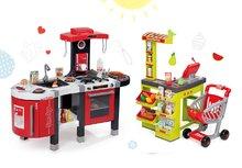 SMOBY 311201-2 červená kuchynka Tefal French Touch Bublinky s bublaním a ľadom+obchod Supermarket s elektronickou pokladňou