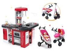 Set detská kuchynka Tefal Studio XXL Smoby s magickým bublaním a kočík pre bábiku 3v1 Maxi Cosi & Quinny