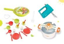 Set detský tlakový hrniec Mini Tefal Smoby, ručný mixér Tefal s metličkami a panvica s riadom