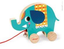 Drevený slon Janod zvieratko z cirkusu na ťahanie so zvončekom od 12 mesiacov