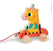 Drevená žirafa Janod zvieratko z cirkusu na ťahanie so zvončekom od 12 mesiacov