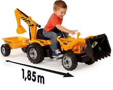 Produse vechi - Tractor cu pedale Power Builder Smoby cu remorcă, încărcător frontal și cupă galben_7
