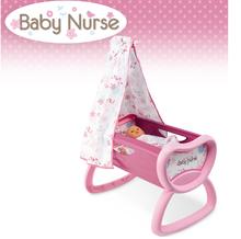 Domčeky pre bábiky sety - Set prebaľovací stôl pre bábiku Baby Nurse Srdiečko Smoby kolíska s baldachýnom a bábika v dupačkách 32 cm_12