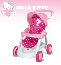 Kočíky od 18 mesiacov - Kočík pre bábiku Hello Kitty Smoby športový (55 cm rúčka) tmavoružový od 18 mes_0