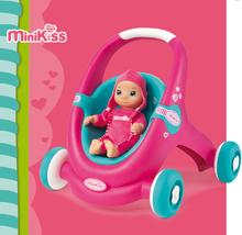 Kočíky pre bábiky od 12 mesiacov - Kočík pre bábiku a chodítko 2v1 MiniKiss Smoby ružovo-tyrkysový od 12 mes_3
