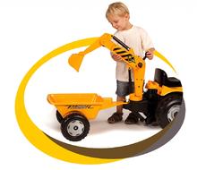 Produse vechi - Tractor cu pedale Power Builder Smoby cu remorcă, încărcător frontal și cupă galben_6