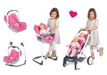 Set kočík pre dve bábiky 4v1 retro Maxi Cosi & Quinny Smoby (65,5 cm rúčka) a stolička, hojdačka s autosedačkou