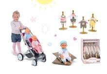 Set kočík pre dve bábiky Maxi Cosi & Quinny Twin Smoby (65,5 cm rúčka), bábika Baby Nurse 32 cm a 3 šiat