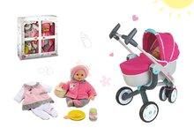 Set kočík pre bábiku Maxi Cosi & Quinny 3v1 Smoby (70 cm rúčka) a bábika so šatôčkami 32 cm
