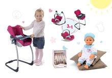 Komplet stol, sedež za avto in gugalnica za dojenčka retro Maxi Cosi & Quinny 3v1 Smoby dojenček Baby Nurse 32 cm in 3 oblekice