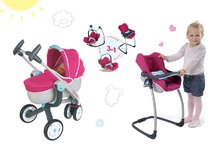 Set kočík pre bábiku Maxi Cosi & Quinny 3v1 Smoby a sada stolička, autosedačka a hojdačka 3v1