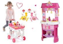 Set bucătărie Disney Prinţese Smoby cu ceas şi set de ceai pe cărucior de servit