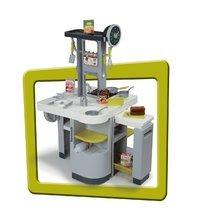 Elektronické kuchyňky - Kuchyňka Loft 4v1 Smoby elektronická se zvuky, s vysouvací pracovní plochou a 25 doplňky stříbrná_3