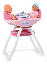 Jedálenská stolička Baby Nurse Smoby pre 42 cm bábiky dvojičky od 24 mesiacov so 4 doplnkami