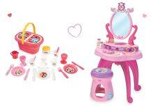Set masă cosmetică Smoby cu scaun 2 în 1 Disney Prințese și cu accesorii pentru coș de picnic