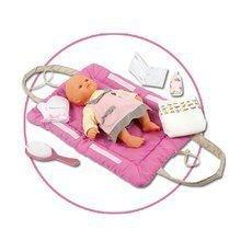 Prebaľovacia podložka Baby Nurse Smoby pre 42 cm bábiku so setom na prebaľovanie tmavoružová