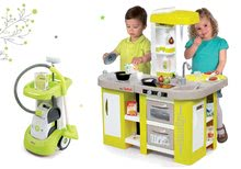 Set upratovací vozík Smoby s elektronickým vysávačom Rowenta a kuchynka Tefal so zvukmi