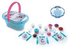 Riadíky a doplnky kuchynky - Piknikový košík Frozen Smoby s trblietkami s 24 doplnkami_0
