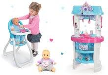 Komplet kuhinja Frozen Smoby z bleščicami, stolček za hranjenje z dojenčkom in siv dojenček