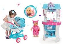 Set kuchynka Frozen Smoby s trblietkami, bábika MiniKiss a kočík pre bábiku