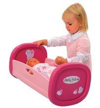 Postýlky a kolébky pro panenky - Kolébka pro panenku 42 cm Baby Nurse Smoby růžová s kytičkami a srdíčky od 18 měsíců_0
