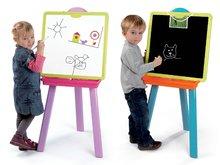 Školské tabule - Školská tabuľa 2v1 Smoby magnetická, obojstranná na zavesenie so 7 doplnkami ružovo-zelená_3