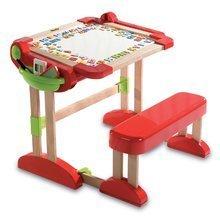 Dřevěná školní lavice Activity 2v1 Smoby skládací s oboustrannou tabulí a 61 doplňky