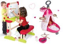 Set bancă şcolară din lemn Modulo Space pliabilă, magnetică şi cu cretă Smoby şi cărucior pentru înfâșat Baby Nurse