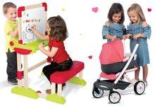 Set bancă şcolară din lemn Modulo Space Smoby pliabilă, magnetică şi cu cretă Smoby şi cărucior adânc pentru păpușă Trio Pastel