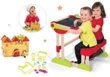 Set bancă şcolară din lemn Modulo Space pliabilă, magnetică Smoby şi bucătar jucăuș Chef cu rețete și forme