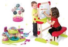 Set bancă şcolară din lemn Modulo Space pliabilă, magnetică şi cu cretă Smoby și bucătar jucăuș Cofetărie
