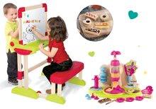 Set bancă şcolară din lemn Modulo Space Smoby pliabilă, magnetică şi cu cretă Smoby şi bucătar jucăuș Chef Facem prăjituri