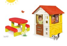 Set domček Máša a medveď Pretty Smoby so zasúvacou okenicou a stôl Piknik s úložným priestorom od 2 rokov
