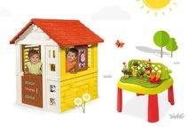 Set domček Máša a medveď Pretty Smoby so zasúvacou okenicou a stôl Záhradník De Jardinage 2v1 s plotom od 2 rokov