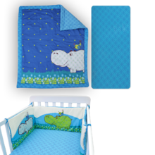 Súprava do postieľky Joy toTs-smarTrike hroch paplónik, plachta a hniezdo 100% bavlnený satén modrá