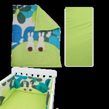 Babaágynemű garnitúra Joy toTs-smarTrike nyuszis takaró, lepedő és fejvédő 100% pamut szatén zöld
