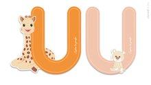 Drevené písmeno U Sophie The Giraffe Janod lepiace 7 cm oranžové/ružové