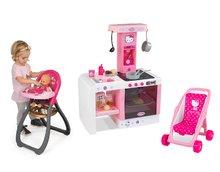 SMOBY 24195-1 elektronická kuchynka Hello Kitty Cheftronic so zvukmi +kočík bugina (49 cm rúčka)+jedálenská stolička pre bábi
