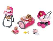 Bábiky s doplnkami sety - Set bábika Minikiss Smoby 27 cm jedálenská stolička kolíska s kolotočom a hlboký kočík pre bábiku (56 cm rúčka) od 18 mes_18