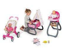 Bábiky s doplnkami sety - Set bábika Minikiss Smoby 27 cm, jedálenská stolička, kolíska s baldachýnom a kočík pre bábiku (53,5 cm rúčka) od 18 mes_18