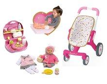Bábiky s doplnkami sety - Set bábika Minikiss Smoby 27 cm, prebaľovací set v kufríku a kočík pre bábiku (53,5 cm rúčka) od 18 mes_13