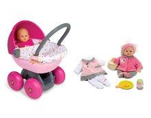 Bábiky s doplnkami sety - Set bábika Minikiss Smoby 27 cm a hlboký kočík s textilom Baby Nurse pre bábiku (56 cm rúčka) od 18 mes_11