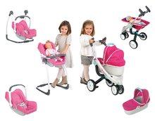 Set kočík pre bábiku Maxi Cosi & Quinny 3v1 Smoby (70 cm rúčka) a sada stolička, autosedačka a hojdačka 3v1 retro