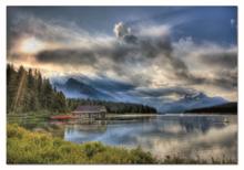Puzzle 1000 dielne - Puzzle Maligne Lake Boathouse Educa 1000 dielov od 12 rokov_0