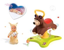 Set odrážadlo Máša a Medveď Smoby 2v1 skákajúci a točiaci sa a bábika so zvukom MiniKiss od 12 mesiacov