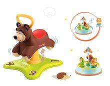 Set babytaxiu Masha şi ursul Smoby 2in1 săltăreţ şi rotitor şi carusel Cotoons Merry de la 12 luni